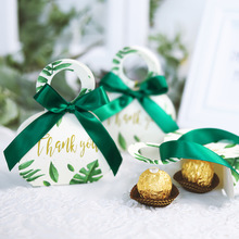 Green forest style gift box thank you candy box event party wedding favors return Baby shower birthday gift box birthday Easter стоимость