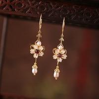 Chinese Cloisonne Enamel flower Earrings Pearl Eardrop Women Vintage Ethnic style Ear Clip Dangle Jewelry Ear Ornaments