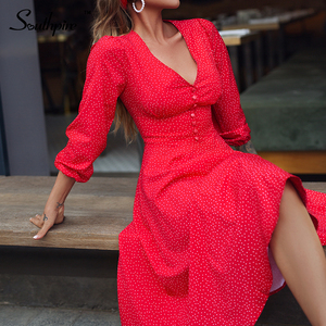 Southpire Sexy Red Long Dress For Women Dot Printing Deep V-neck A-line Elegant Dress Autumn Winter Party Fashion Clothing