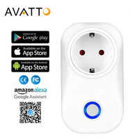 AVATTO 16A EU Wifi Smart Socket with Alexa,Google home Audio APP Wireless Control Smart Pug Outlet with Android ios phone
