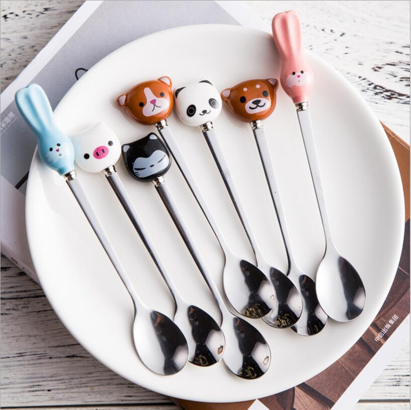 Children Soup Coffee Spoons Scoop Dinnerware Cute Cartoon Animals Cat Panda Rabbit Coffee Spoon Stirring Spoon