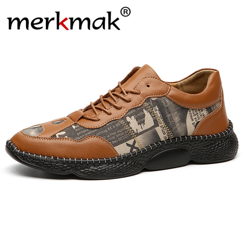 Merkmak 2020 Genuine Cow Leather Casual Shoes Fashion Lace-up Men Spring Sneakers Comfortable Walking Shoes Men Loafers Big Size