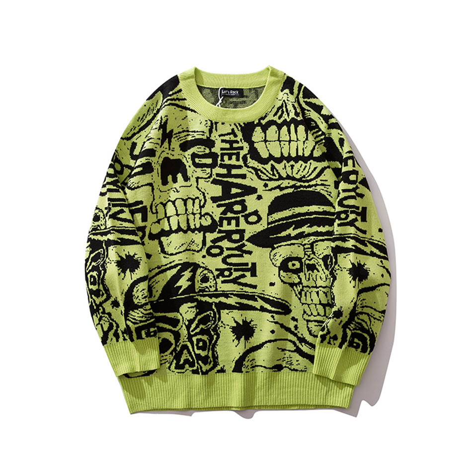 2XL Oversize  Hip Hop Taro Print Skulls Crew Neck Sweaters Men Pullover Long Sleeve Casual Hombre Sweater  Casaco Masculino