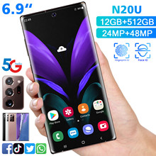 Global Version Galxy N20U 6.9inch Smartphone Full Screen 12GB+ 512GB Android 10 Finger Face ID Dual Camera 4G Smart Mobile Phone