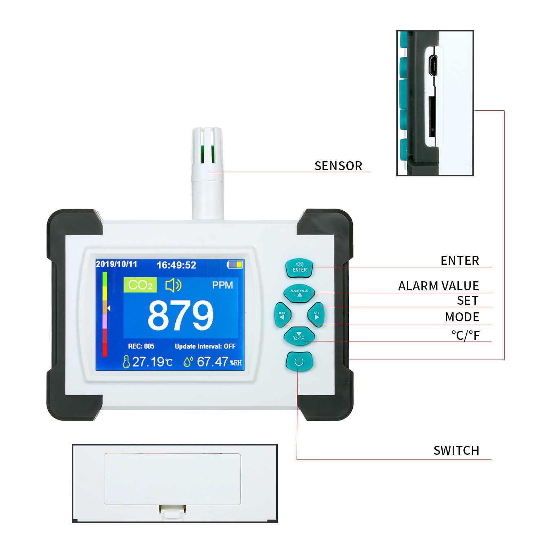 Medidor Co2 KKmoon Detector de di/óxido de carbono Detector de CO2 port/átil para interiores Medidor de CO2 port/átil Detector de aire dom/éstico multifuncional Analizador inteligente de calidad del aire