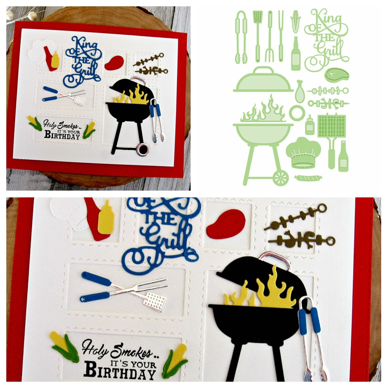 Barbecue King Of The Grill Die Cuts For Cards Making Decoration Dies Scrapbooking Metal Cutting Dies New 2019