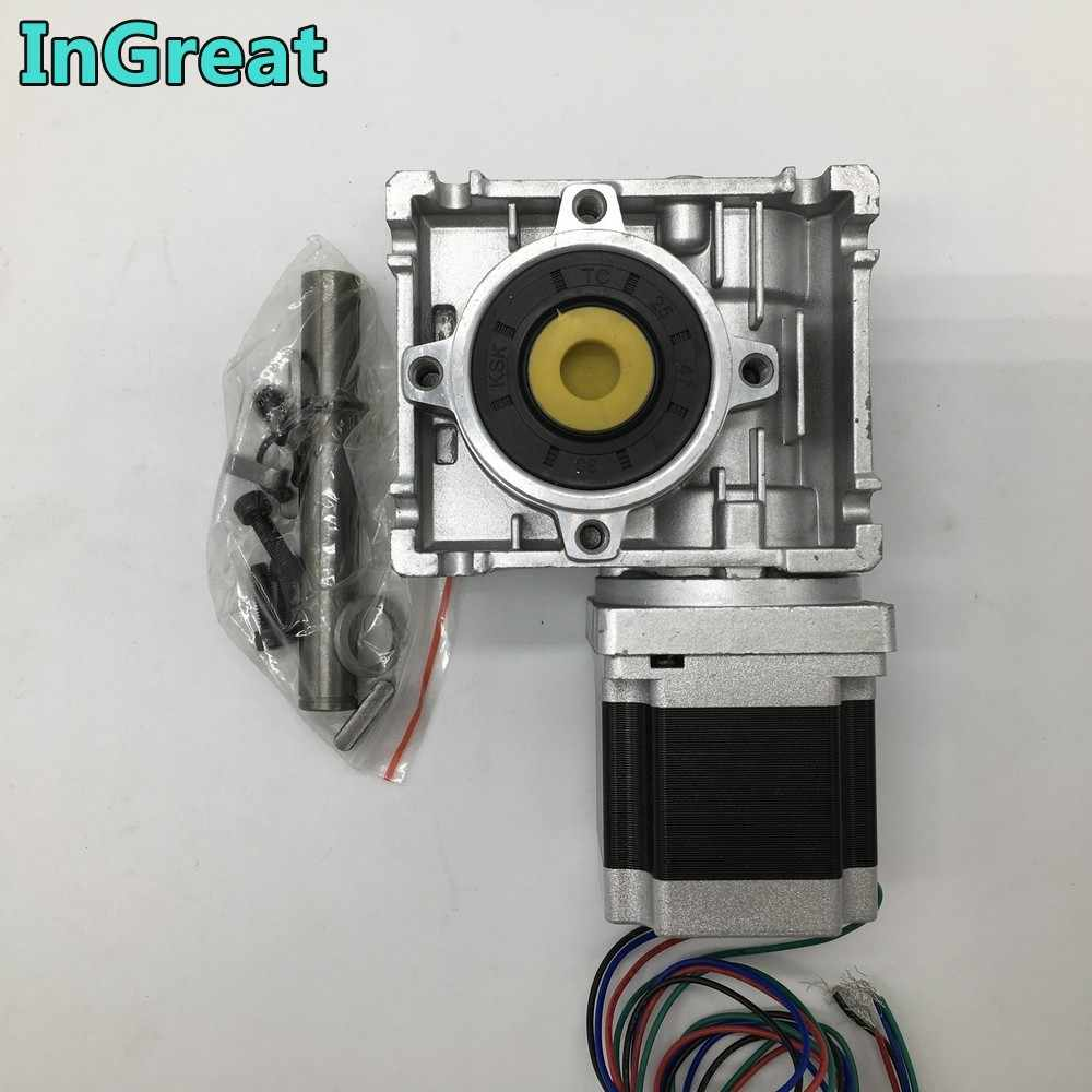Nema23 Stepper Motor dengan Worm Gearbox RV030 5:1 Speed Reducer 14 Mm Output 3A 56 Mm 1.2NM 172Oz-in Kit mengkonversi 90 Derajat CNC Router
