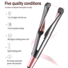Professional Hair crimper Straightening Iron&Curling Iron Hair Curler 2 in 1 Hair Straightener Flat Irons Ceramic Styling Tools mini hair straightening irons pink ceramic straightener corrugate curling iron styling tools hair curler