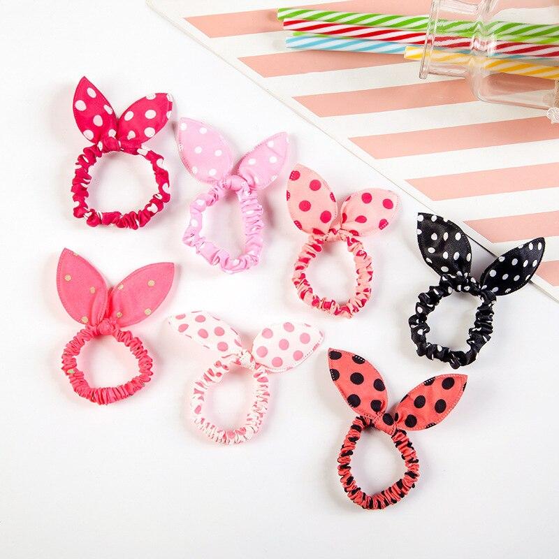 10X Rabbit Ears Hair Holders Hair Accessories Girl Women Rubber HairBand l/'p  Fm