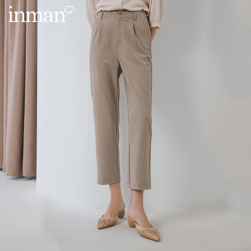 INMAN 2020 Spring New Arrival Office Style Artsy Fashion Elegant Unique Loose Straight Women Causal Pants