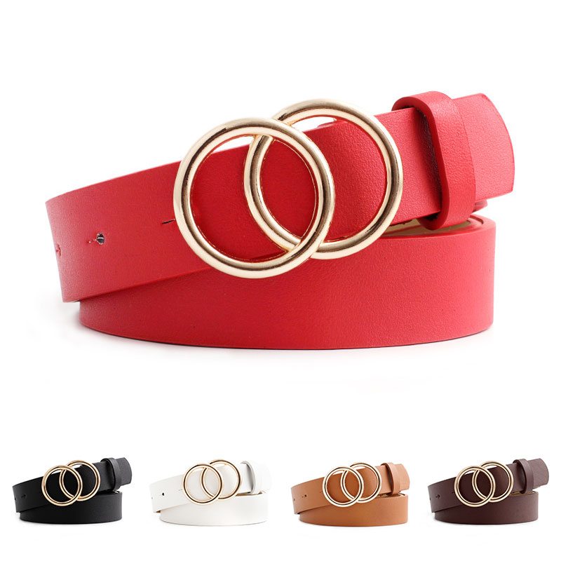2019 New Fashion Women Wide Black Red White Brown Leather Waist Belt Woman Double O Ring Belts For Dress Cinturones Para Mujer