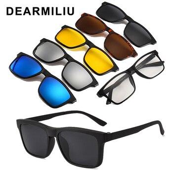 DEARMILIU Ultra-light 6pcs/1set Polarized Clip On Sunglasses Men Women Magnetic Eyewear Eyeglass Frames Optical Glasses Frame