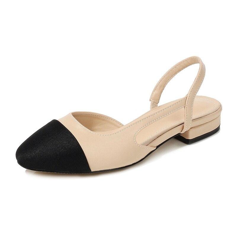 Women Summer Patchwork Shallow Sandals Side Cut Out Stretch Back Strap Slip On Slingback Sandals Elegant Sandals Female