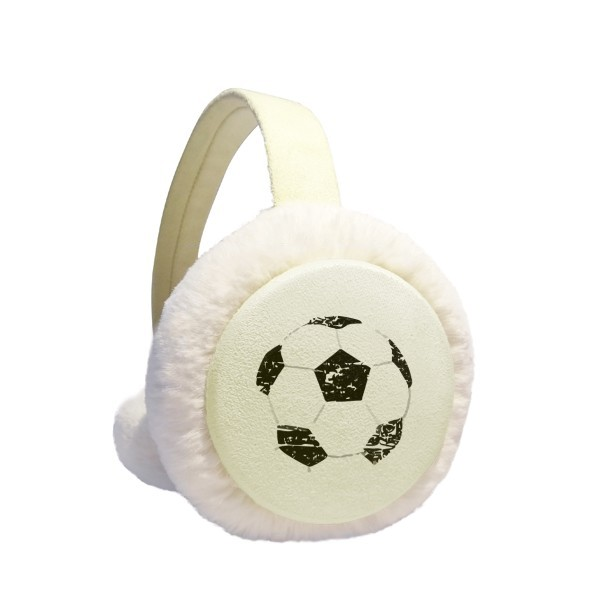 Simple Black Football Pattern Soccer Winter Earmuffs Ear Warmers Faux Fur Foldable Plush Outdoor Gift