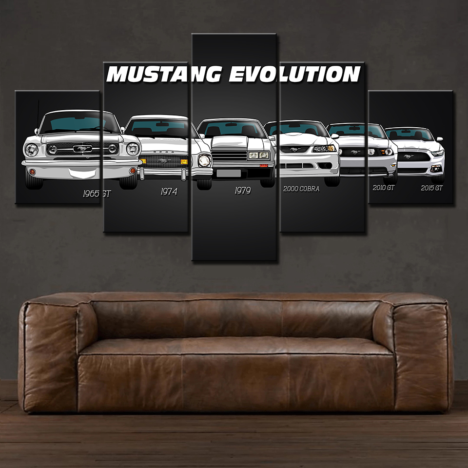 Ford Mustang print poster canvas decoration 5 pieces