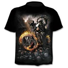 2018 New Motorcycle Skull 3dT-Shirt Men Women Fashion Hip Hop T