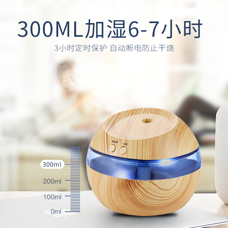Creative Gift Wood Grain Humidifier USB Small Desktop Household Bedroom Fragrance Ultrasonic Air Cleaner|Humidifiers| |  -