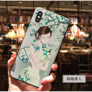 Image 5 - Chinese ancient cheongsam beauty phone case For Iphone 11 PRO MAX XS MAX XR XS X For 6 6S 7 8 Plus soft cover black shell