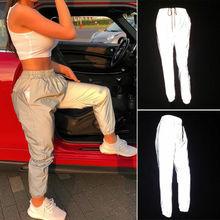 Goocheer Women Dancing Reflective Light Pants Jogging Sports Trousers Fashion INS Style Long