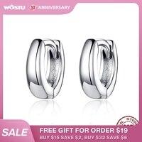 WOSTU 925 argent Sterling minimaliste cercle boucles d'oreilles brillant rond petites boucles d'oreilles pour les femmes de mariage 2019 Style bijoux CQE552