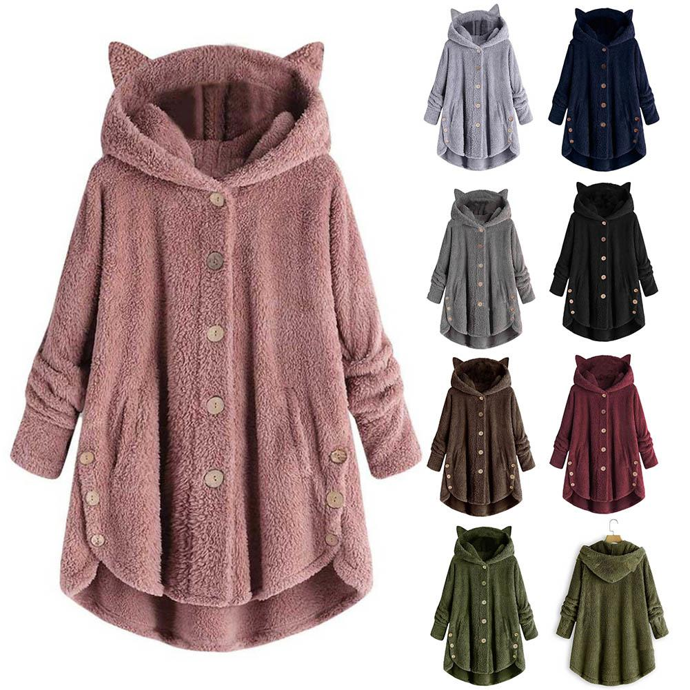 S-5XL Fashion Winter Coat Women Hooded  Long Sleeve  Long Coat Jacket Long Sleeve Button Hooded  Plush Top Jacket Clothing Hot