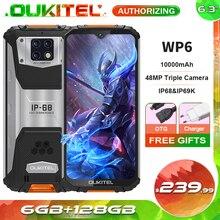 OUKITEL WP6 IP68 Waterproof 10000mAh Smartphone 6.3'' FHD+ 48MP Triple Camera 6GB+128GB Octa Core Rugged Mobile Phone