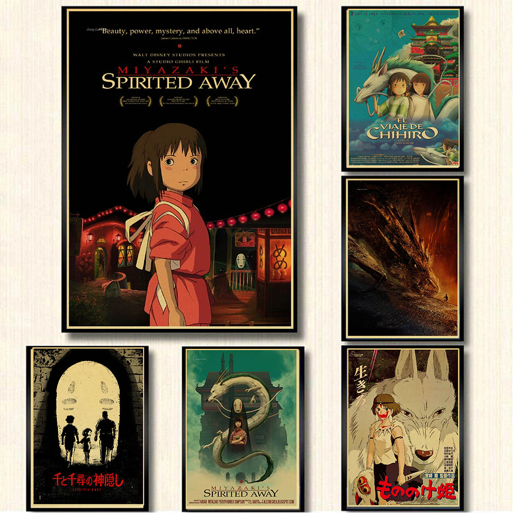 Retro Posters Spirited Away Hayao Miyazaki Cartoon Movie Poster Kraft Paper Painting Stickers Wall Hanging Painting Printed Draw image