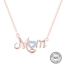 Initial Necklace Pure 925 Sterling Silver Custom Name Letter MOM Charm Pendant for Women Mother's Day Gift