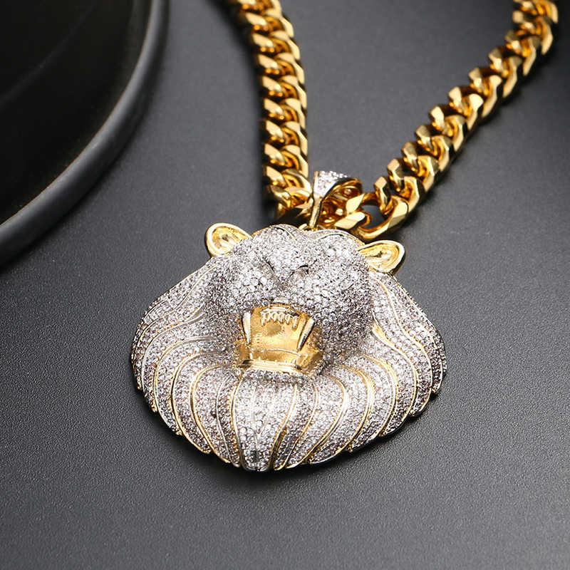 Buzlu Out Out mikro açacağı kübik zirkon aslan başkanı kolye kolye erkekler için Hip Hop takı moda tasarım taş moda takı hediye