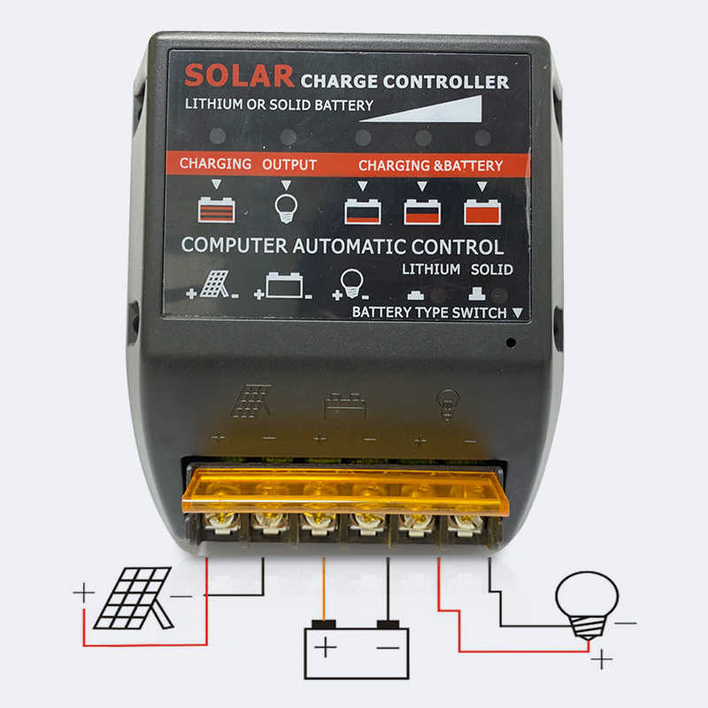 20A Solar Charge Controller 12V 24V Solar Panel PV Regulator untuk 480W 240W dengan Baterai Lithium dan Padat Baterai Charger