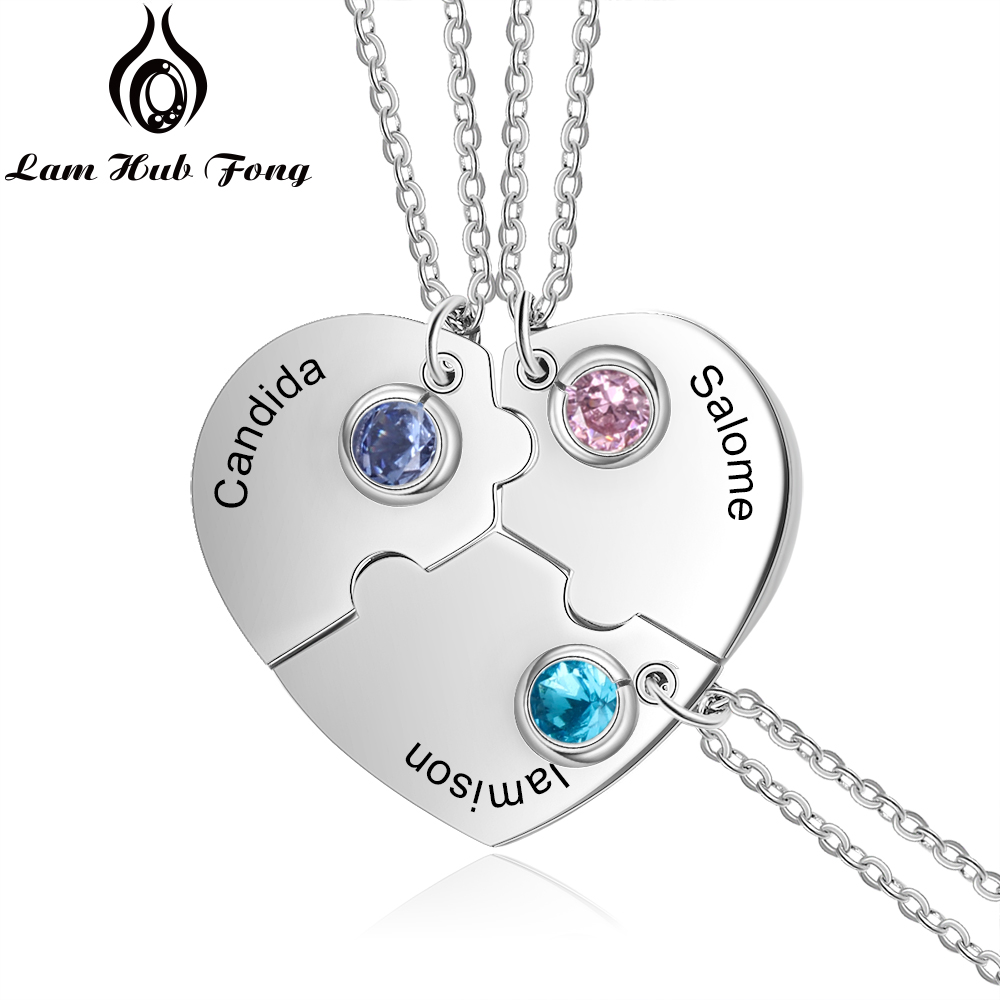 3 pcs Heart Pendant Bff Necklace Personalized Name Necklace Best Friends Friendship Jewelry Gift for Women (Lam Hub Fong)