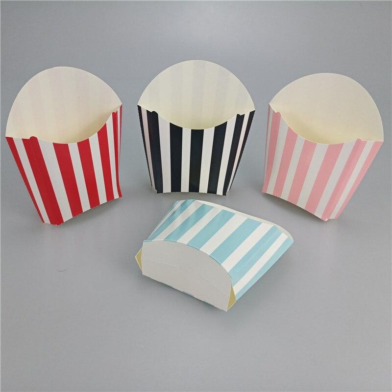 6PCS Stripe Paper Fries Popcorn Box Candy Dragee Sanck Favor Bag Wedding Birthday Party Decoration Packaging Sweets Popcorn Box