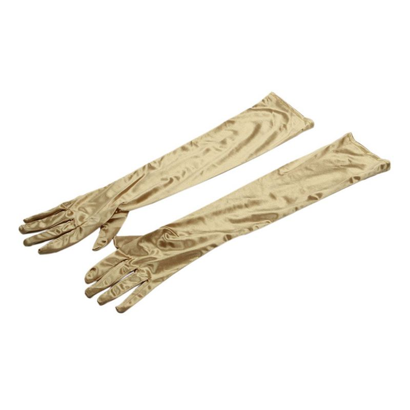 1 Pair 21.7inch Long Party Bridal Dance Gloves, Gold