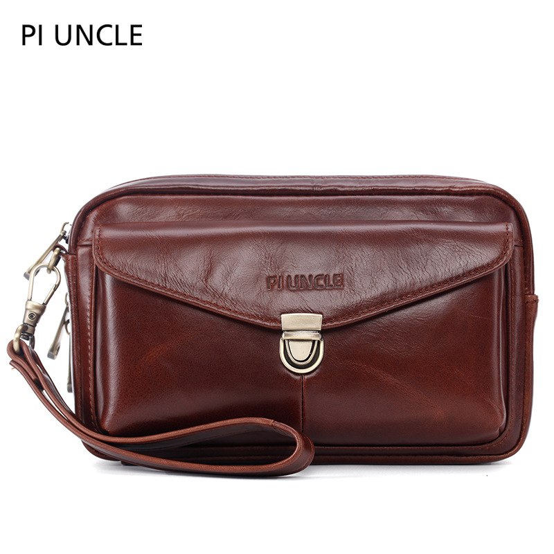 PI UNCLE Brand Genuine Leather Casual Business Wristlet Day Clutch Bag Men Envelope Zipper Cell Phone Pouch Wallet Case