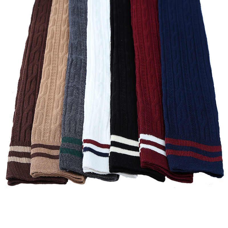 Весенне-осенние высокие носки с вертикальными полосками носки выше колена из чистого хлопка с двумя полосками Японские Женские носки