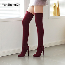 YANSHENGXIN Shoes Woman Boots Genuine Fur Over-the-Knee Boots High Heels Women Shoes Autumn Winter Boots Ladies Booties 33-46 facnidnll new 2017 genuine leather women autumn winter boots high heels zipper black brown shoes woman over the knee high boots