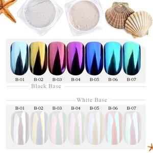 Image 1 - 1g Shinning Aurora Magie Spiegel Chrome Nail art Glitter Pulver Bunte Pigment Flocken Staub Dekoration Maniküre Tipps JIB01 07