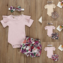 신생아 베이비 걸즈 복장 Romper Bodysuit + Flower Print Shorts Set(China)