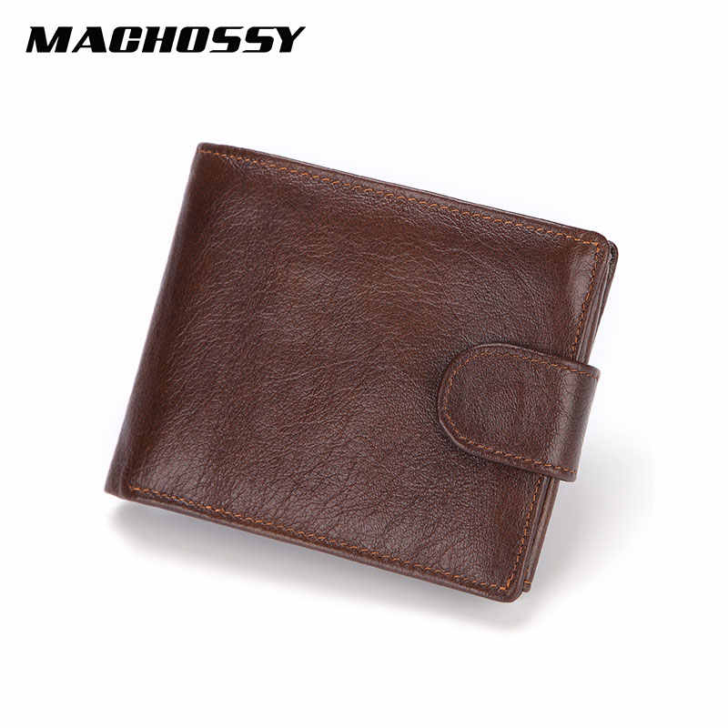 Brand Men Wallets Genuine Leather Short Coin Purse Fashion Hasp Wallet For Male Portomonee with Card Holder Photo Holder