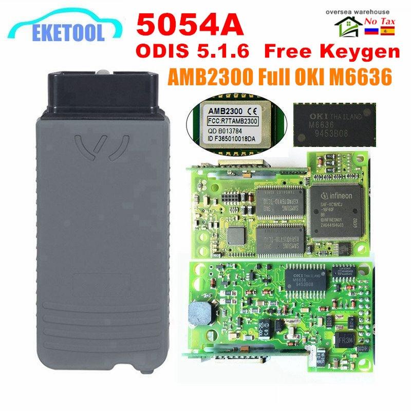 VAS5054A ODIS V5 1 6 Free Keygen Original AMB2300 Bluetooth OKI Full Chip 5054A With Buzzer UDS VAS 5054 6154 ODIS 5 1 5