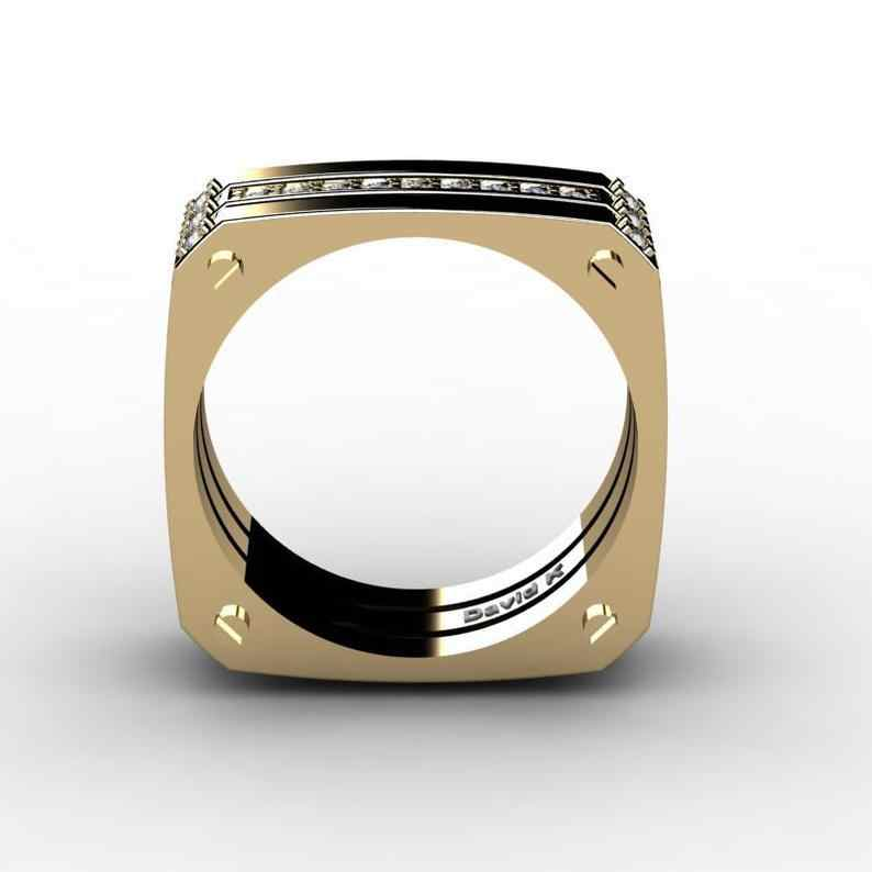 Unique Fashion Men's Punk Square Large Gold Color Ring Three Layers Meteorite Ring Wholesale Size6-12 Female Gift Luxury Jewelry