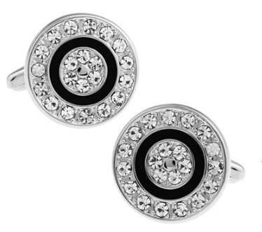 Round Design Fashion Crystal Cufflinks Quality Brass Material Black Color Cuff Links Wholesale & Retail