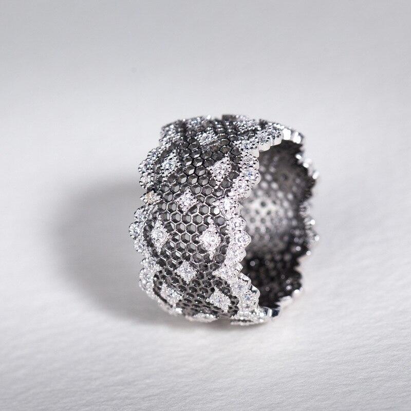 S925 bijoux en argent Sterling nid d'abeille creux élégant deux tons anneaux pour les femmes
