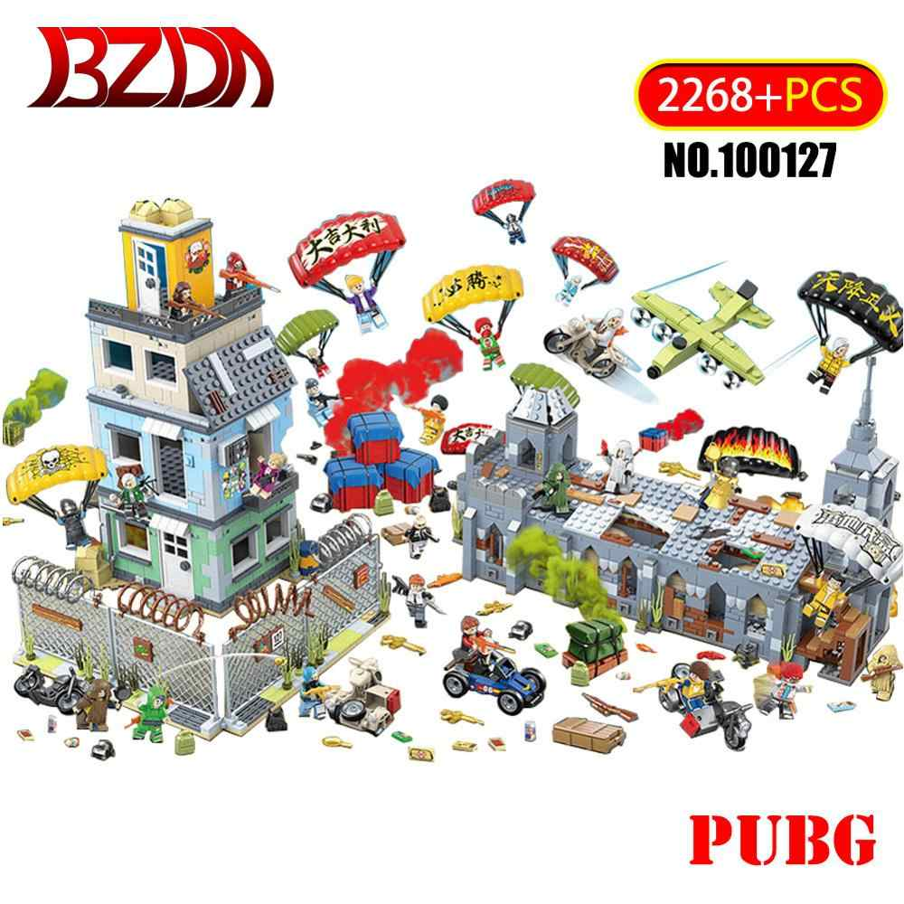 BZDA 2268 Pcs PUBG Kompatibel DIY Battlegrounded Cosplay Game Blok Bangunan Kota MOC Helm Armor Pesawat Pan Batu Bata Mainan