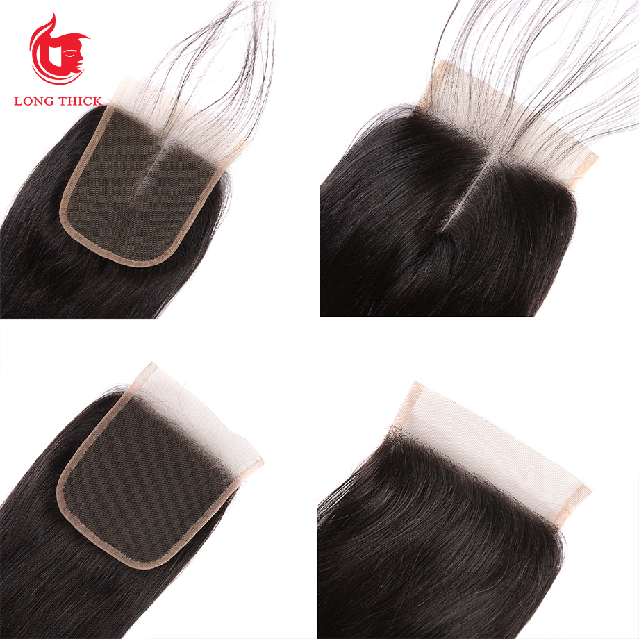 Bone Straight Hair 4x4 Swiss Lace Frontal Closure Pre Plucked  With Baby Hair   Products 5