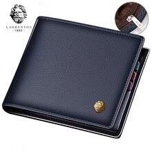 Laorentou carteira masculina de couro legítimo, carteira masculina compacta feita em couro de vaca legítimo, com compartimento para cartões