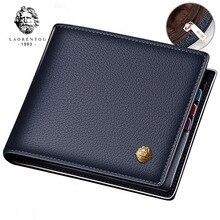 LAORENTOU محفظة الرجال جلد طبيعي معيار حاملي بطاقة محفظة صغيرة رجل جلد البقر محفظة النقود بيفولد محفظة بطاقة عادية