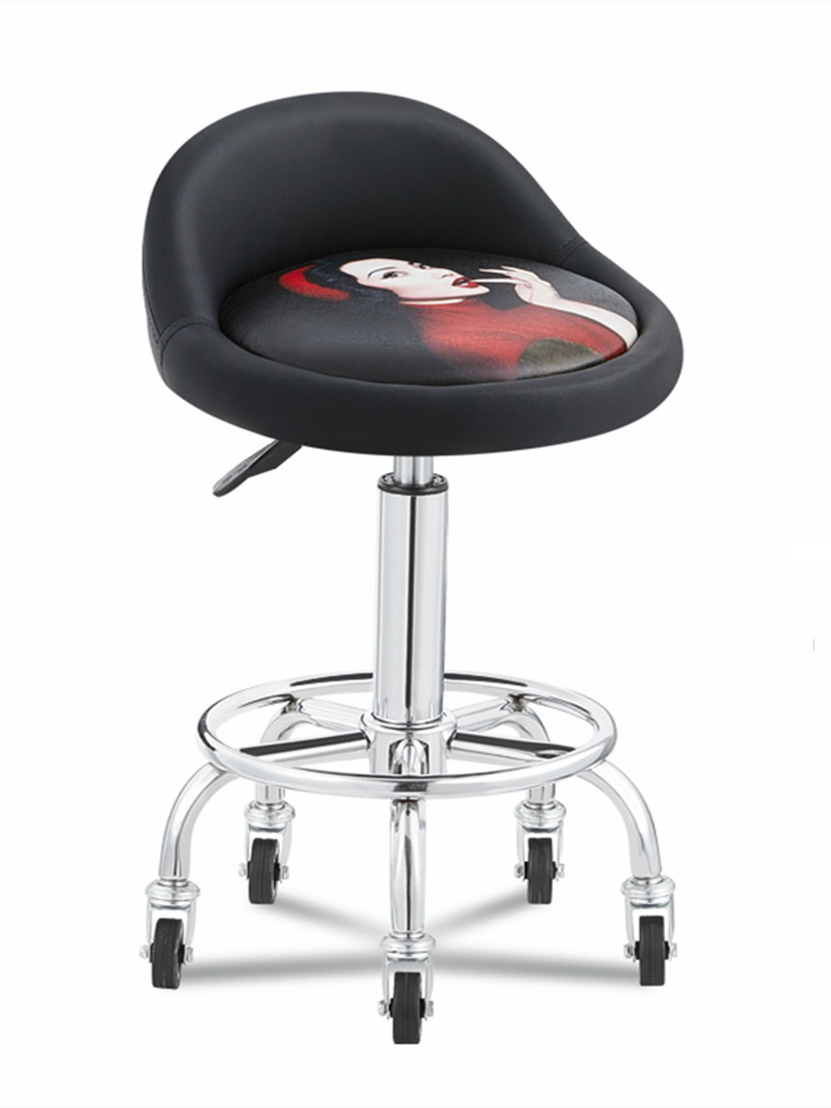 Beauty Stool Barber Shop Hairdressing Salon Chair Rotating Lifting Round Stool Nail Salon Stool Pulley Work Bench Special