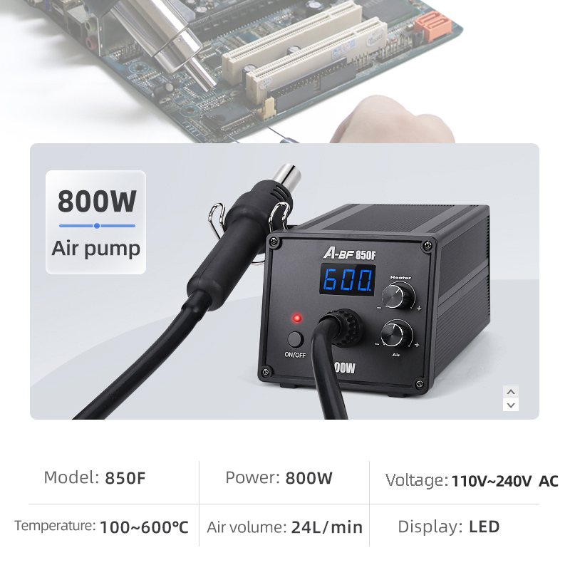 Tools : A-BF Anti-static Digital Display Desoldering Station Hot Air Gun Spiral Wind Constant Temperature Adjustable Welding Station