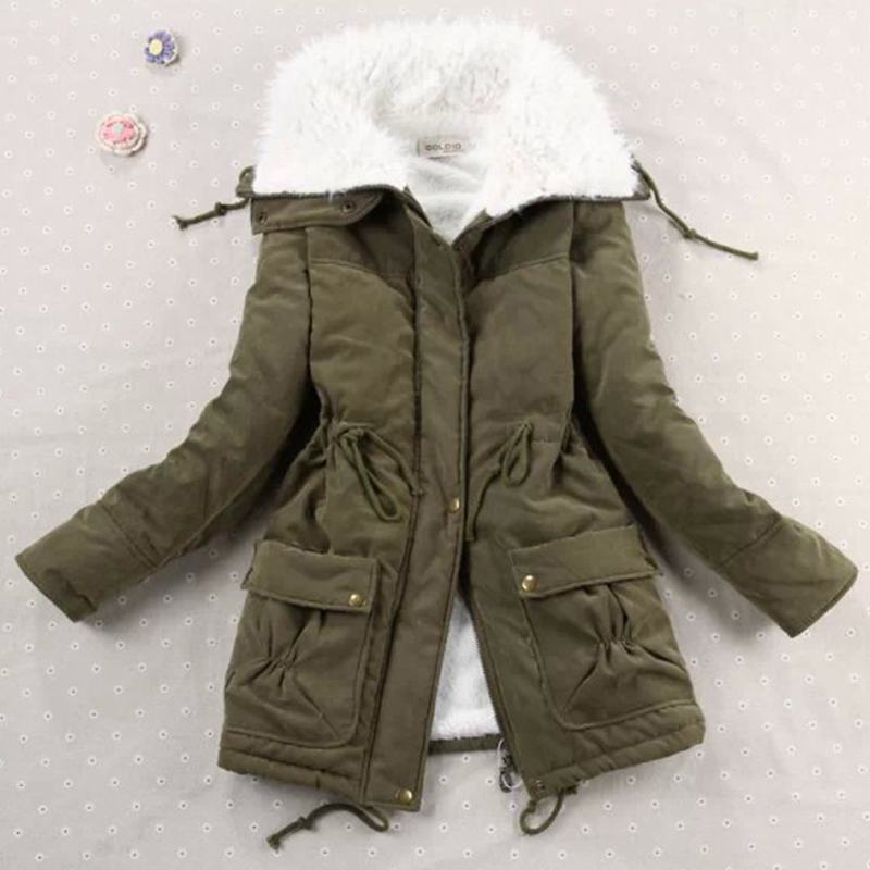 Candy Color Plus Size Wool Blends Down Coat Women Autumn Winter Warm Long Sleeve Single Breasted Coat Casual Cotton Parka Coats